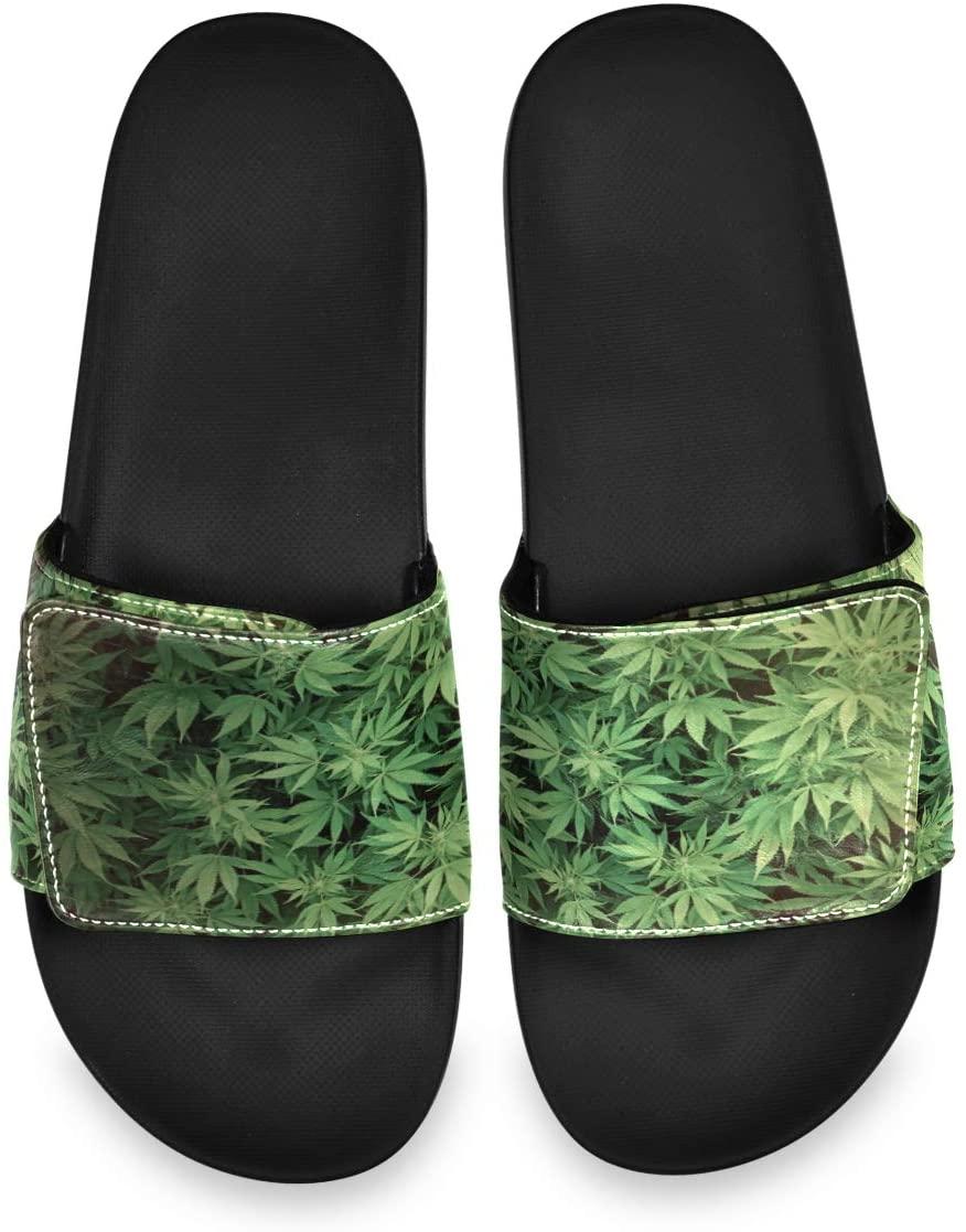 Cannabis Leaf Mens Leather Slide Sandals Summer House Adjustable Slippers Slip On Boys