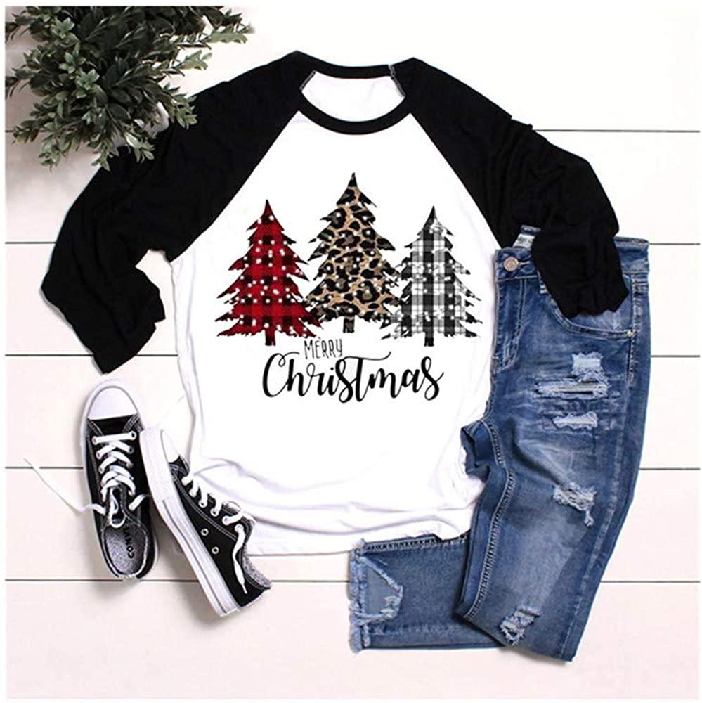 Women Casual Christmas Print Long Sleeves O-Neck Loose T-Shirt Blouse Tops
