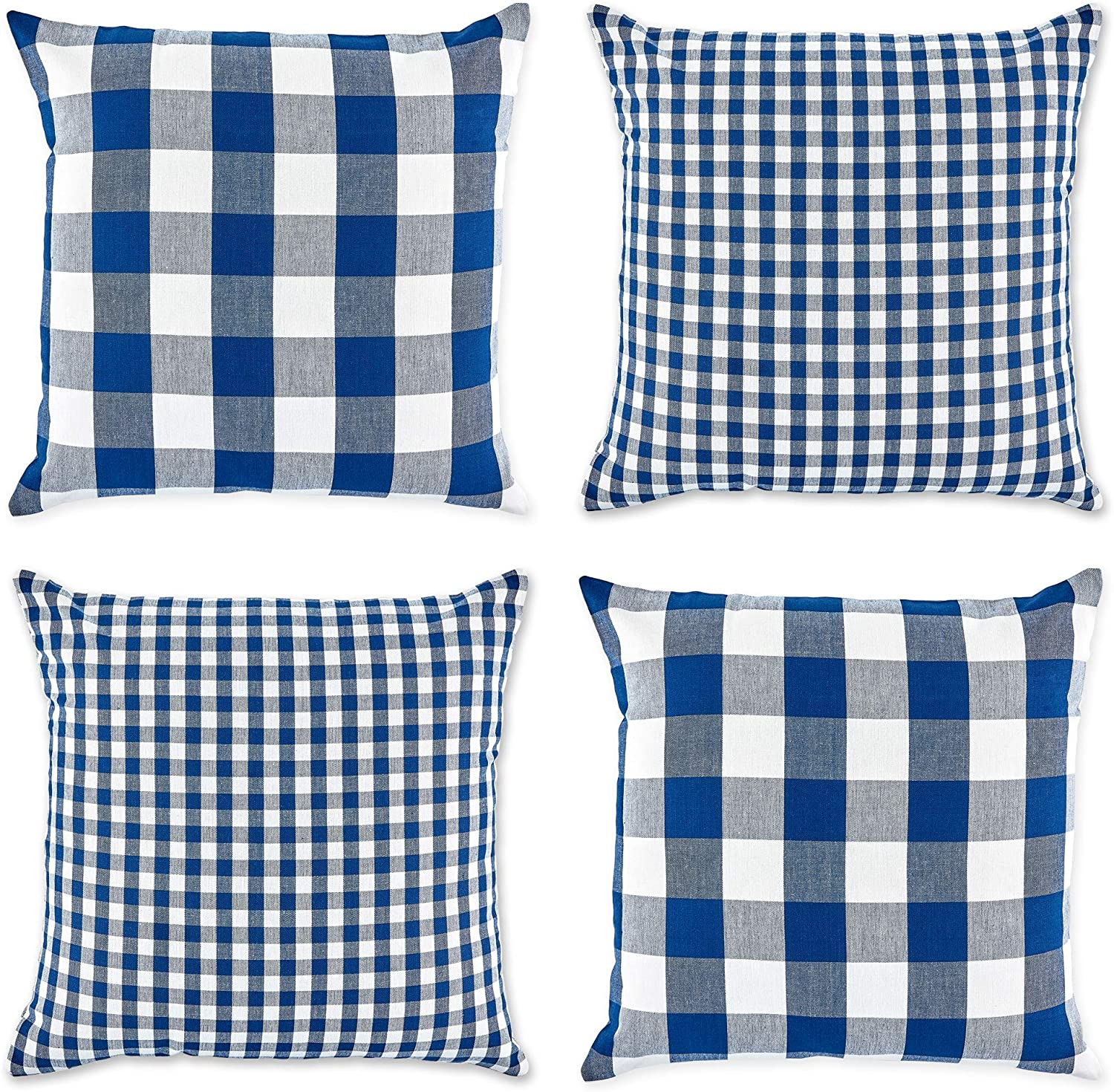 DII Gingham/Check Pillow Cover, 18x18, Navy/Off-White