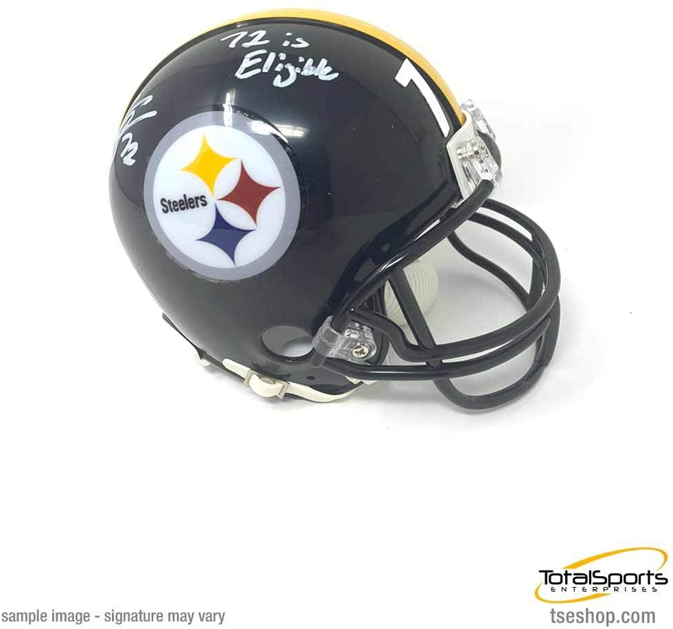 TSE Zach Banner Signed Pittsburgh Steelers Black Mini Helmet with 72 is Eligible