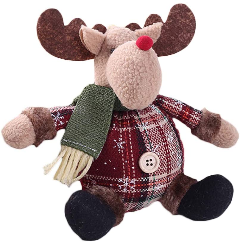 newshijieCOb 1/3Pcs Christmas Decorations Santa Snowman Elk Shape Doll Christmas Tree Hanging Pendant Table Ornament, for Family Friends Elk#