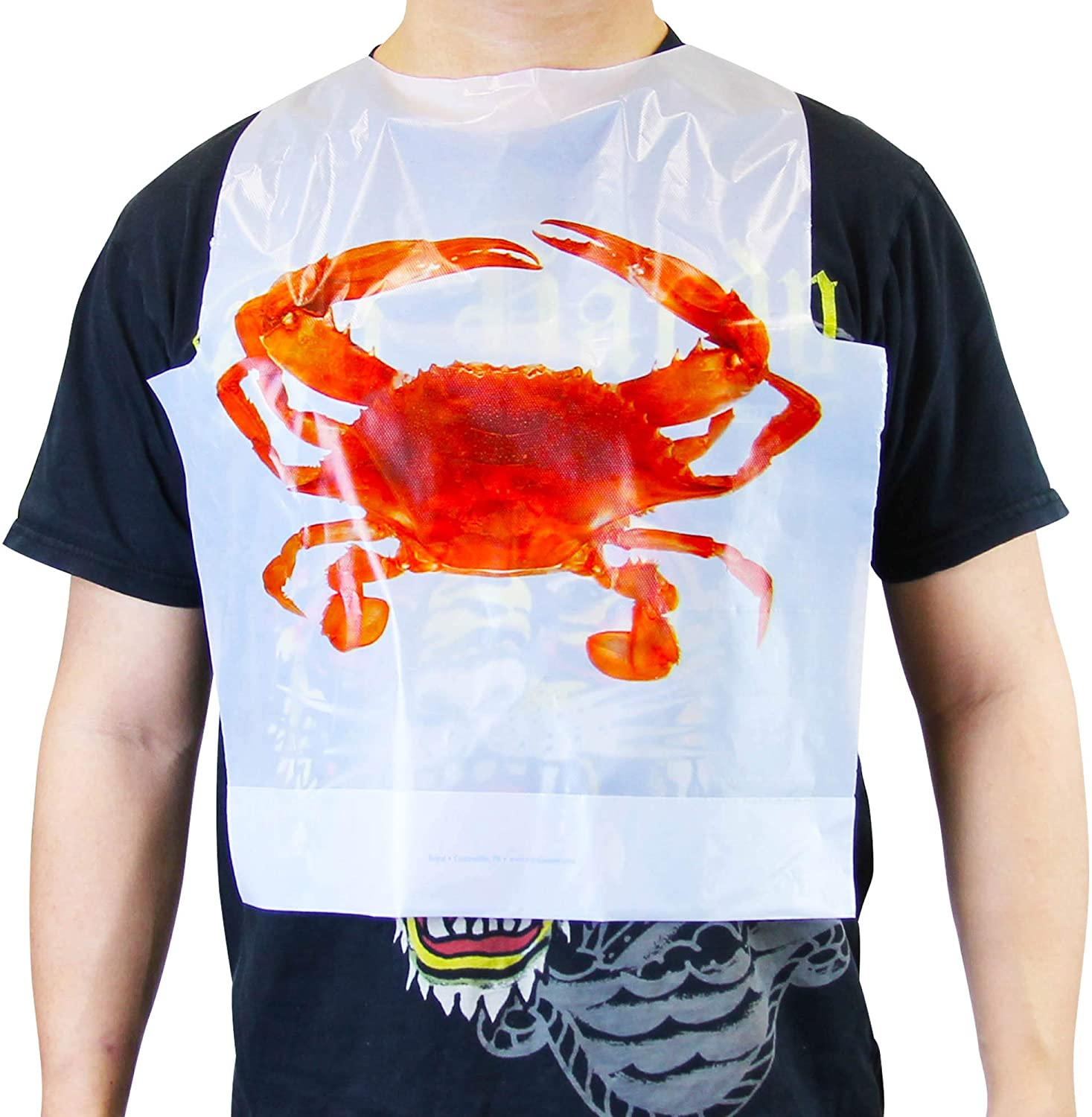 [50 Pack] Disposable 22 Inch Adult Poly Crab Bibs to Protect Clothes for Lobster Feasts, Seafood Restaurants, Crawfish Parties and Special Events