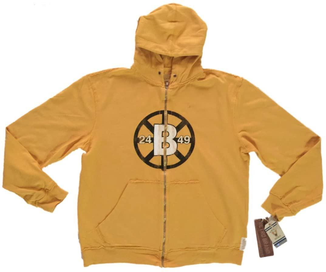 Boston Bruins Retro Brand Gold Full Zip Up Waffle Hooded Vintage Jacket