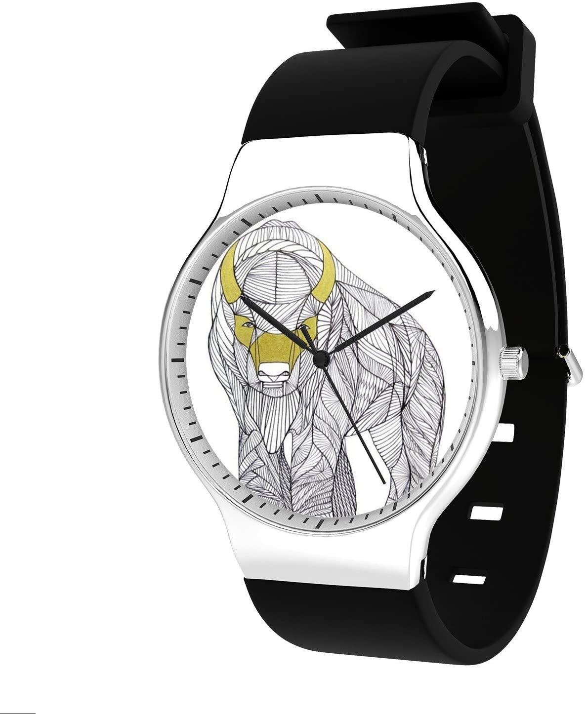Modern Unisex Wrist Watch, Minimalist Fashion Waterproof Watches Simple Silicone Band Dress Watches for Business Men (Buffalo)