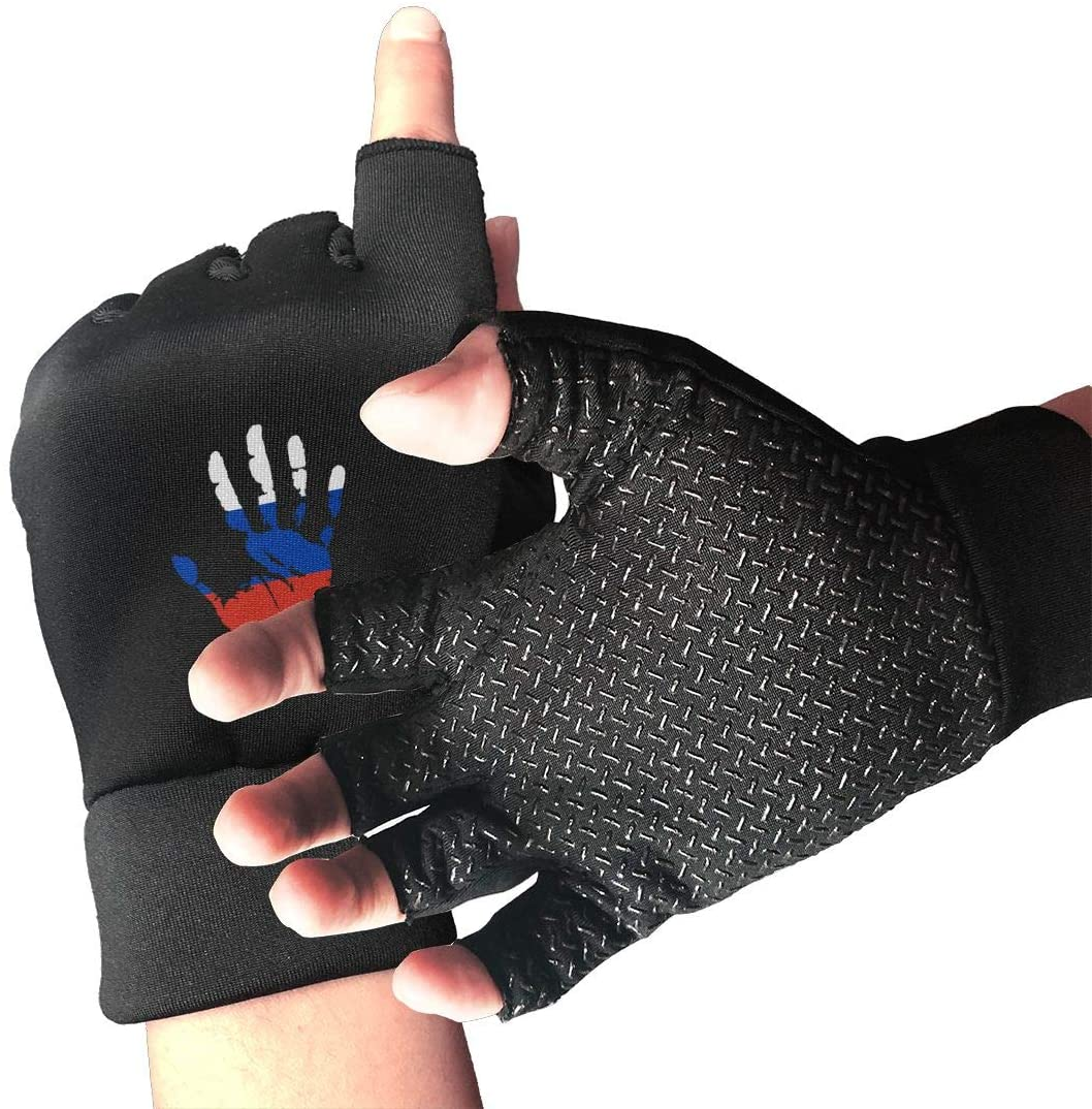 Game Life Russia Flag Palm Print Anti-Skid Gloves Half Finger Short Gloves Outdoor Sports Riding Gloves