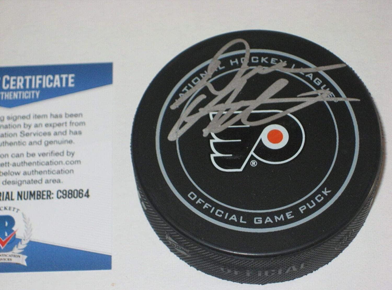 DAVE HAKSTOL Signed Philadelphia FLYERS Official GAME Puck w/Beckett COA - Beckett Authentication - Autographed NHL Pucks