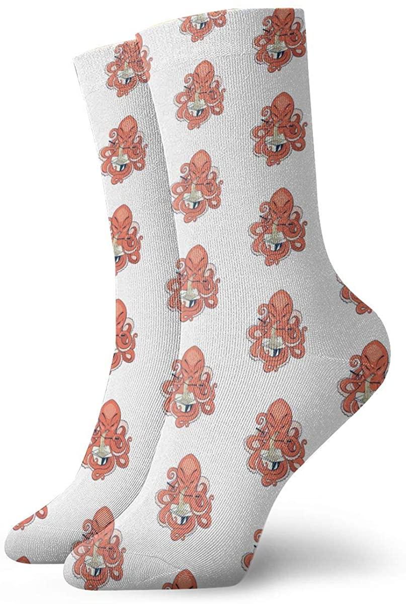 Orange Octopus Eat Noodles Short Crew Socks Athletic Tube Socks For Men Women