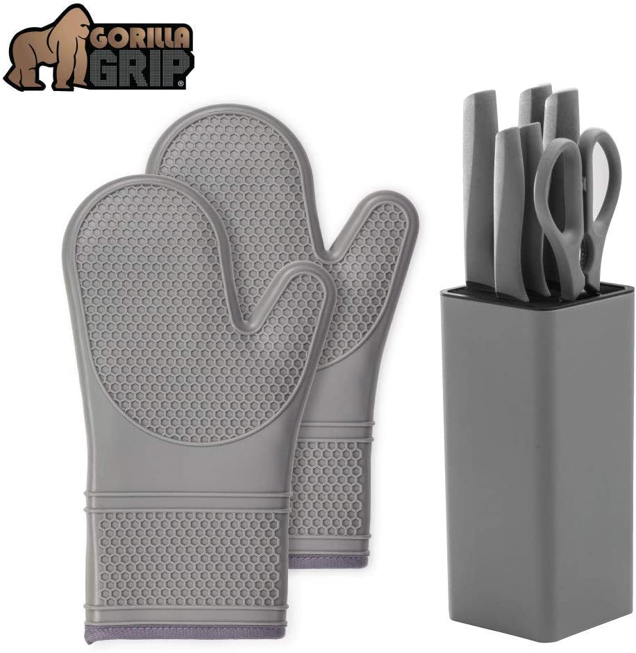 Gorilla Grip Silicone Oven Mitts Set and Knife Block Set, 7 Piece, Both in Gray Color, Oven Mitts are Heat Resistant, Stainless Steel Knife Set Includes 5 Knives, Scissors, and Block, 2 Item Bundle