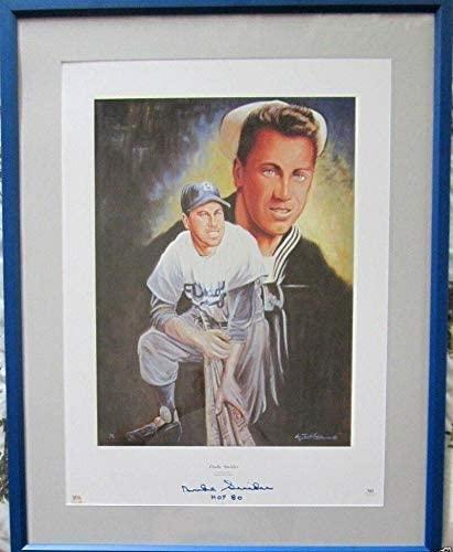 Duke Snider signed autographed Brooklyn Dodgers lithograph framed HOF 80 - PSA/DNA Certified - Autographed MLB Art