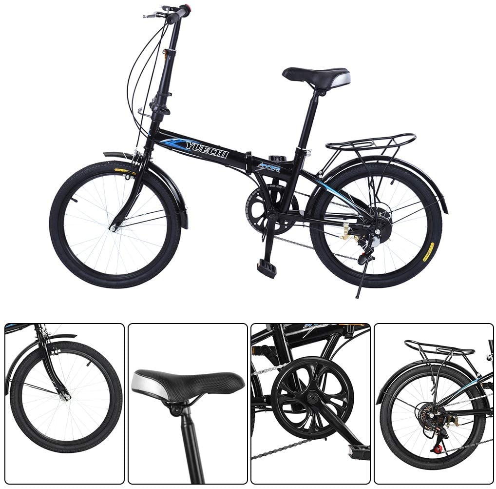 JoJody 20 Inch 7 Folding Bike for Adult Men and Women Teens, Mini Compact Lightweight Foldable Bicycle for Student Office Worker Urban Environment Commuter,Maximum Weight 220lbs