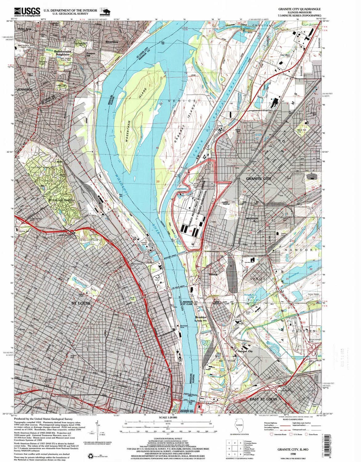YellowMaps Granite City IL topo map, 1:24000 Scale, 7.5 X 7.5 Minute, Historical, 1998, Updated 1999, 26.8 x 22 in