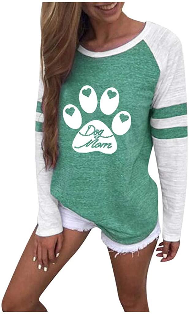 nightfall Women's Dog Footprint Round Neck Tunic Tops Casual Long Sleeve Loose Fit Pullover Sweatshirts Tunics Shirts Green