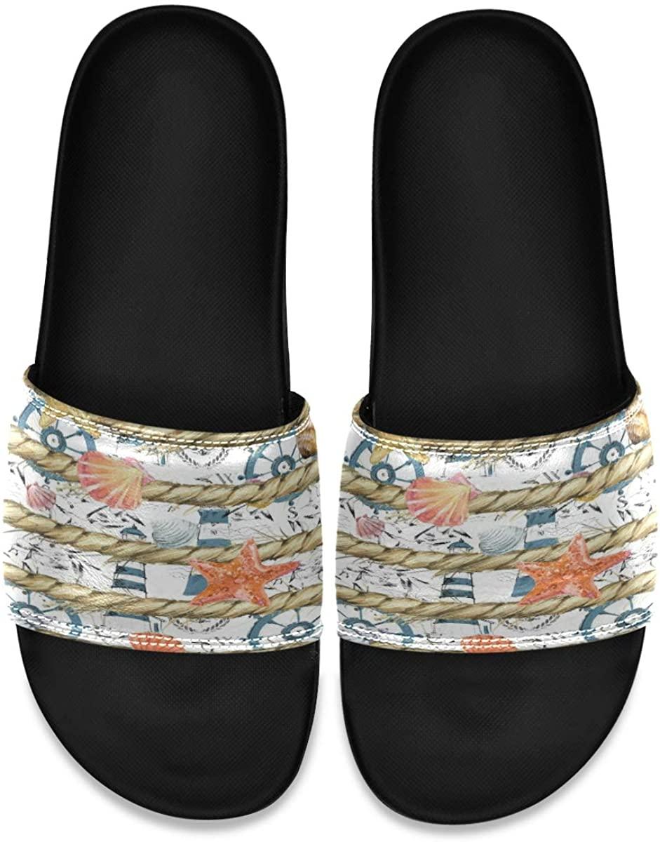 Ladninag Seashells Starfish Ropes Striped Mens Leather Slide Sandals Summer House Slippers Slip On Boys
