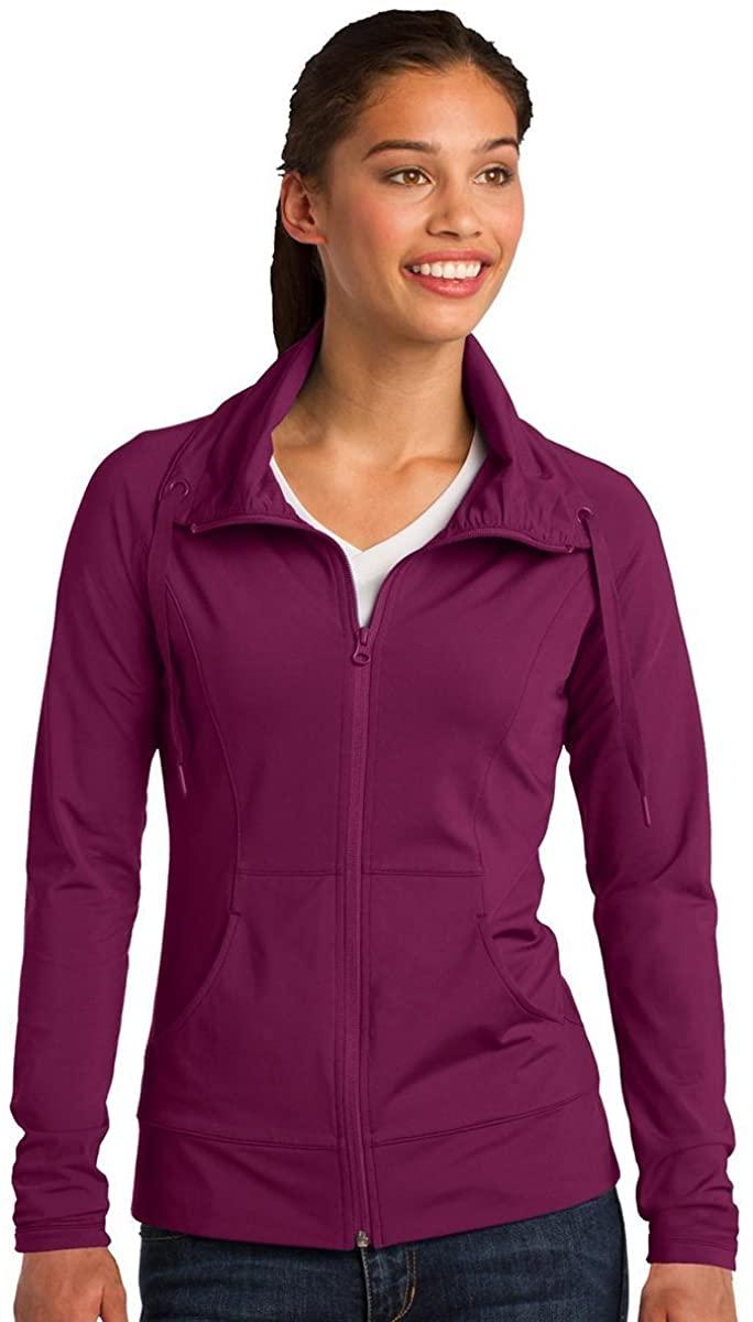 Sport-Tek LST852 Women's Sport-Wick Stretch Full-Zip Jacket - Pink Rush LST852 3X