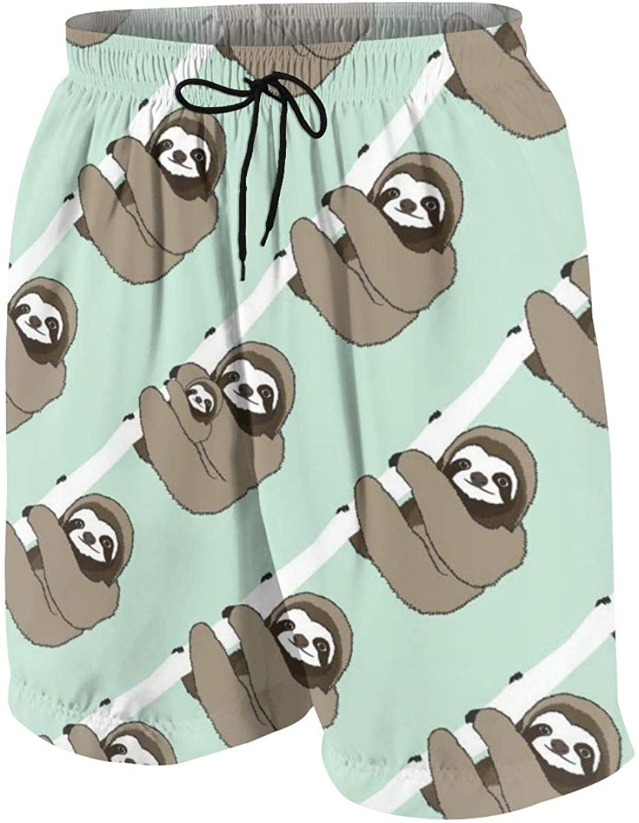 CHAN03 Sloth Pattern Teens Swim Trunks Beach Surfing Board Summer Shorts Pants