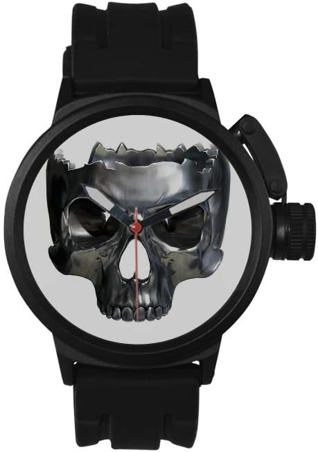 QUICKMUGS2U Metal Texture Skull White Tone Men's Sports Analog Quartz Watch Large Face Wrist Business Casual Watch For Men Father