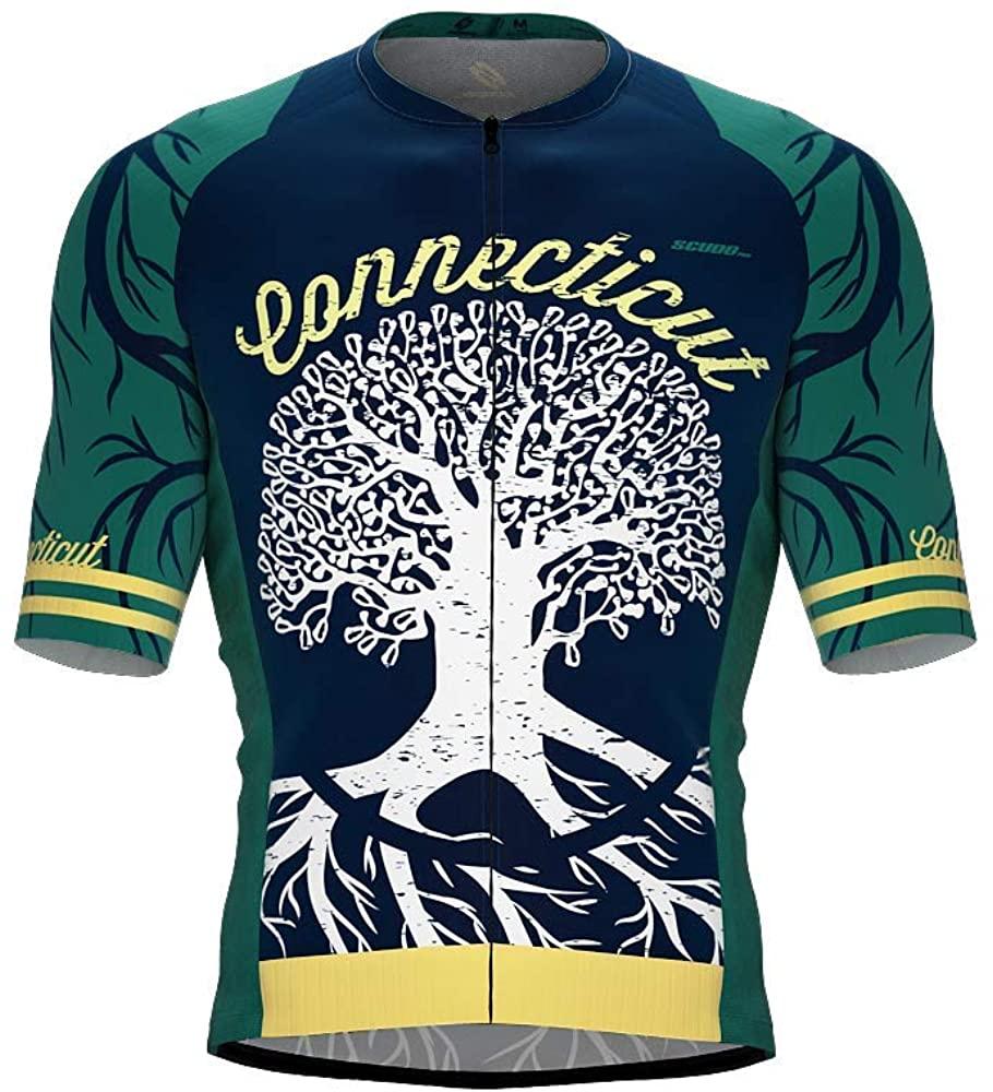 ScudoPro Pro-Elite Short Sleeve Cycling Jersey Connecticut USA State Icon Landmark Symbol Identity for Men