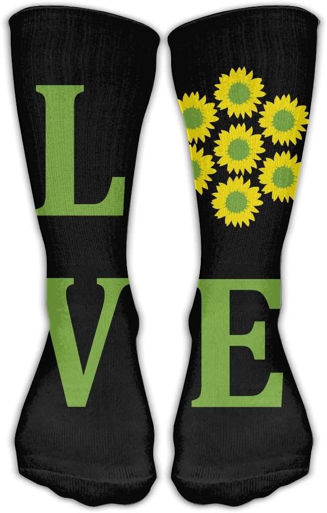 Pin-1 Love Sunflower Athletic Socks Novelty Running Long Sock Cotton Socks