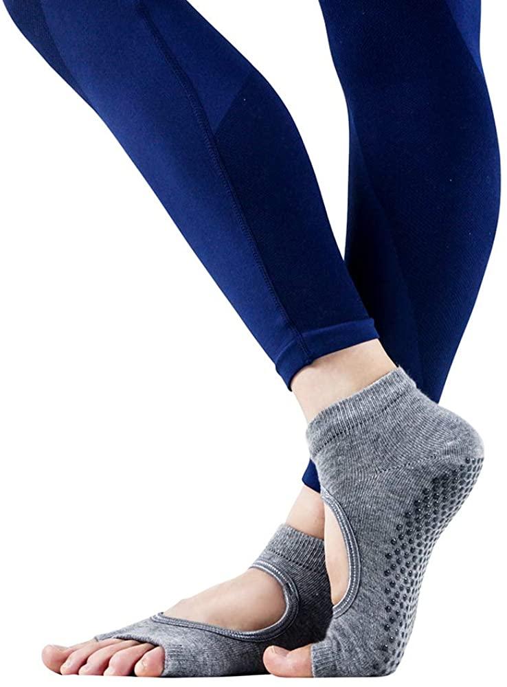 leaky toe yoga socks, Non-slip socks (3 pairs),preferred by yoga, Pilates and ballet lovers(Gray)