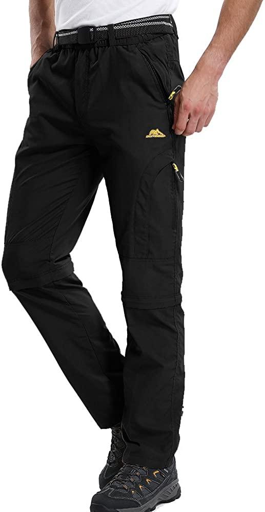 Men's Convertible Pants Zipp Off Stretch Durable UPF 50+ Quick Dry Cargo Shorts Trousers,M4409,Black,US 30