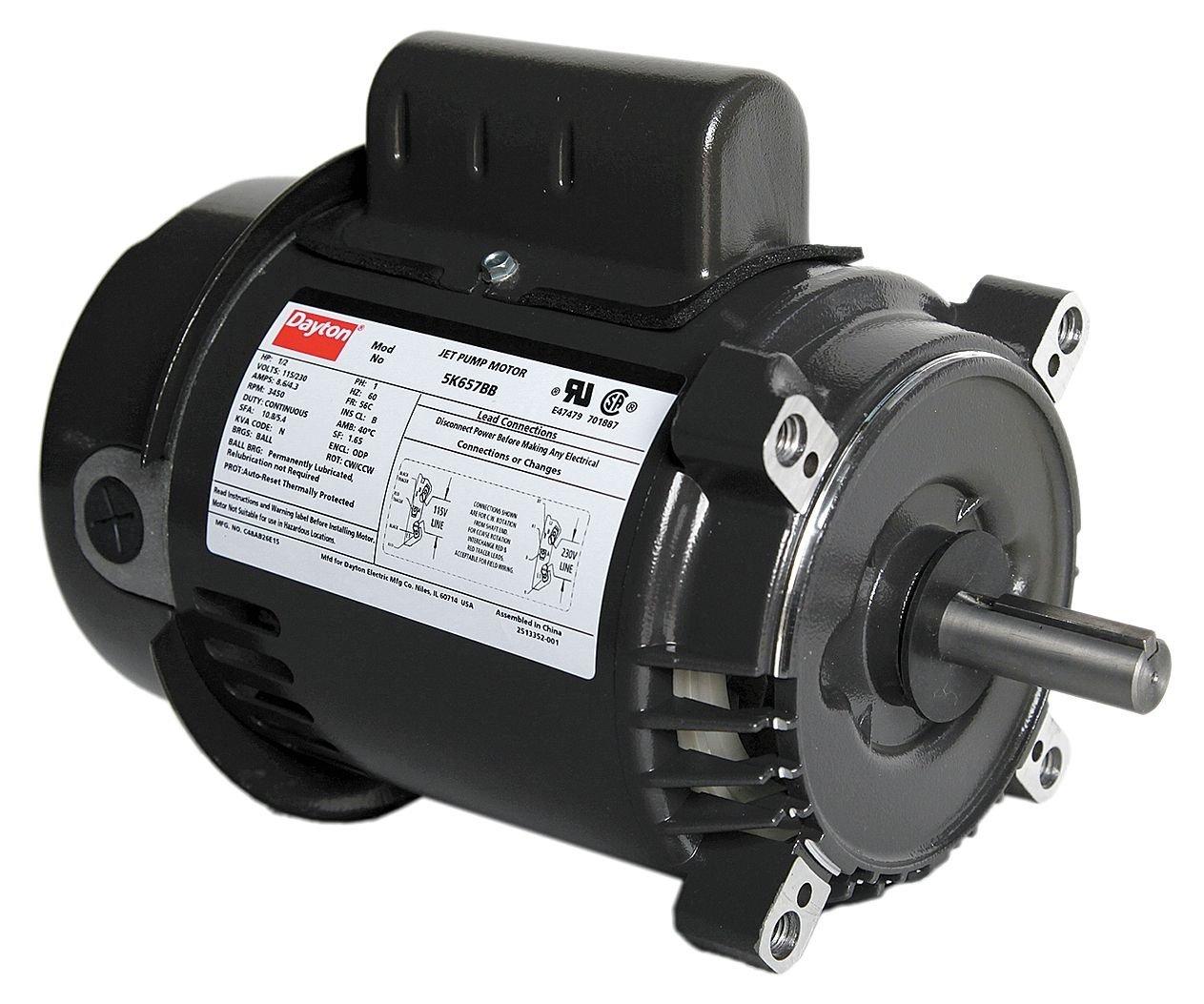Dayton 5K657 Motor, 1/2 hp, Jet Pump, Degrees_Fahrenheit, to Volts, Amps, (