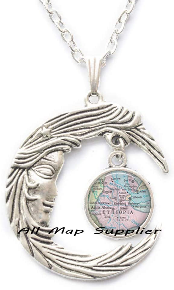 AllMapsupplier Fashion Necklace,Ethiopia map Pendant,Ethiopia map Necklace Ethiopia Necklace Ethiopia Pendant Adoption Pendant,A0109