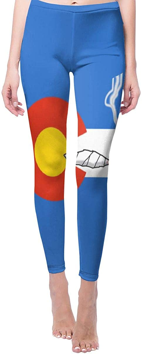Ruin Yoga Pants Fun Colorado Flag Smoking High Waist Skinny Leggings Sweatpants
