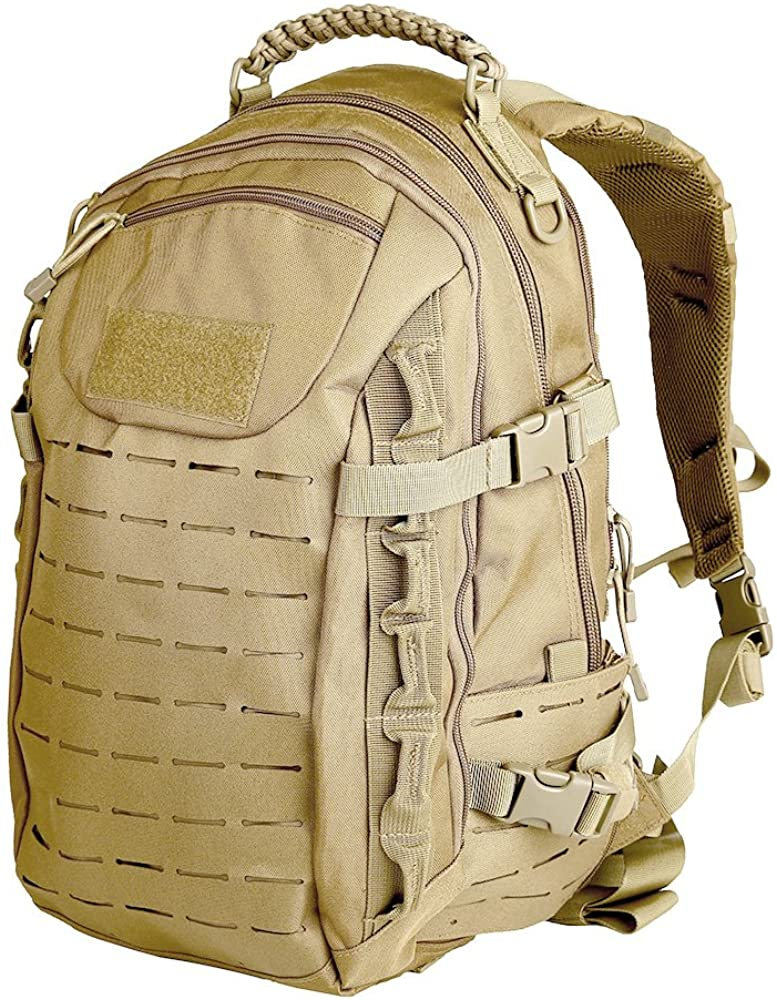 Laser Cut Military Tactical Backpack EDC Everyday Carry Bag (Khaki)