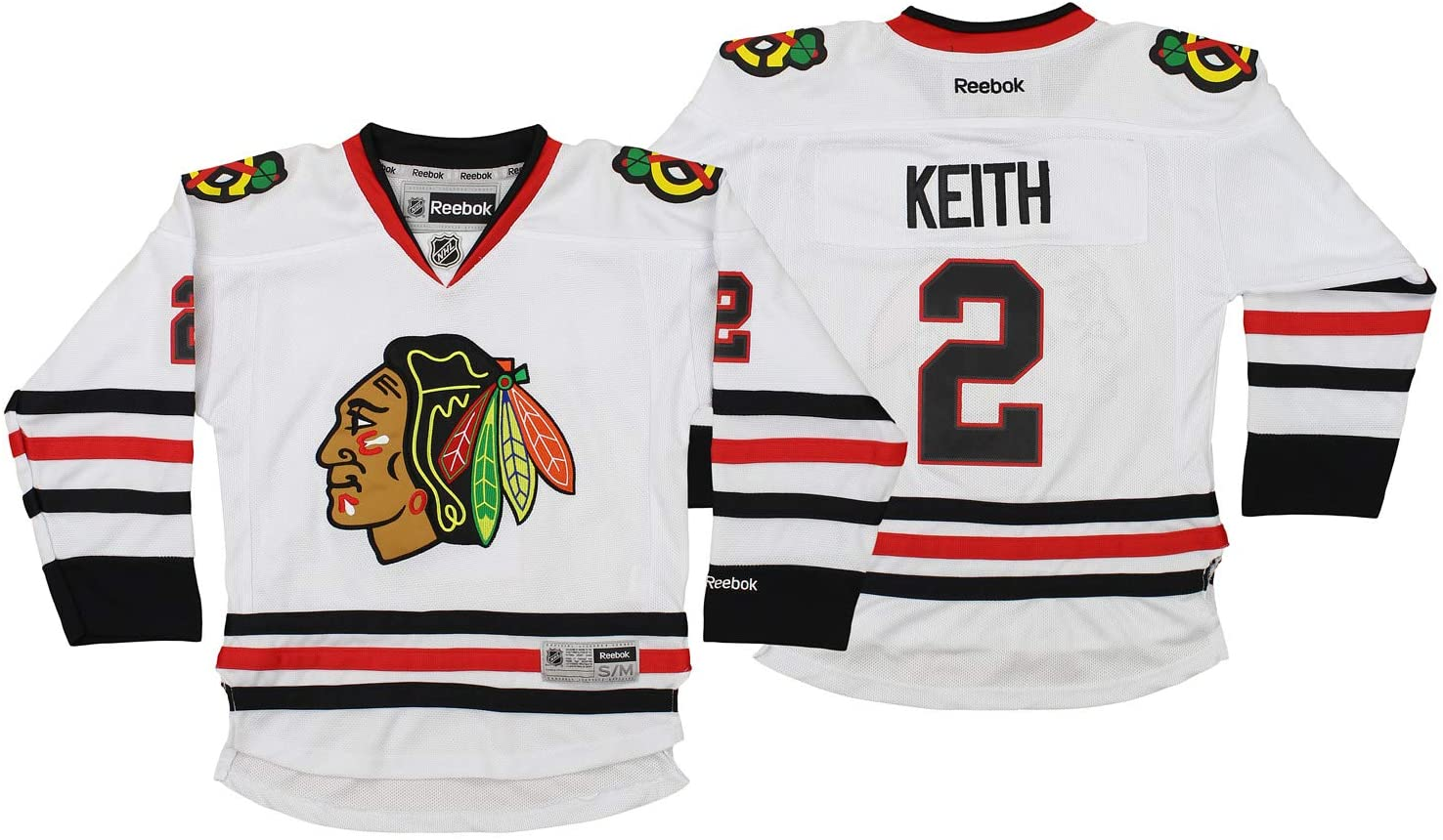 Reebok NHL Youth Boys Chicago Blackhawks Premier Goal Duncan Keith #2 Player Jersey, White