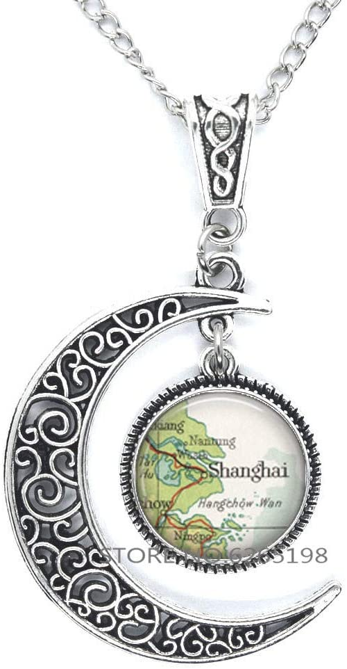 Shanghai map Necklace, Shanghai map Pendant China Adoption Jewelry map Jewelry Gift for Adoptive Parents,N300