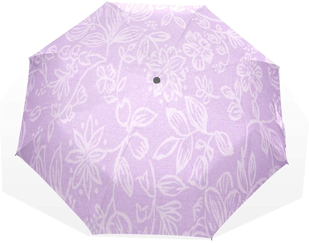 HangWang Umbrella Lavender Fabric with Floral Pattern Travel Golf Sun Rain Windproof Umbrellas with UV Protection for Kids Girls Boys
