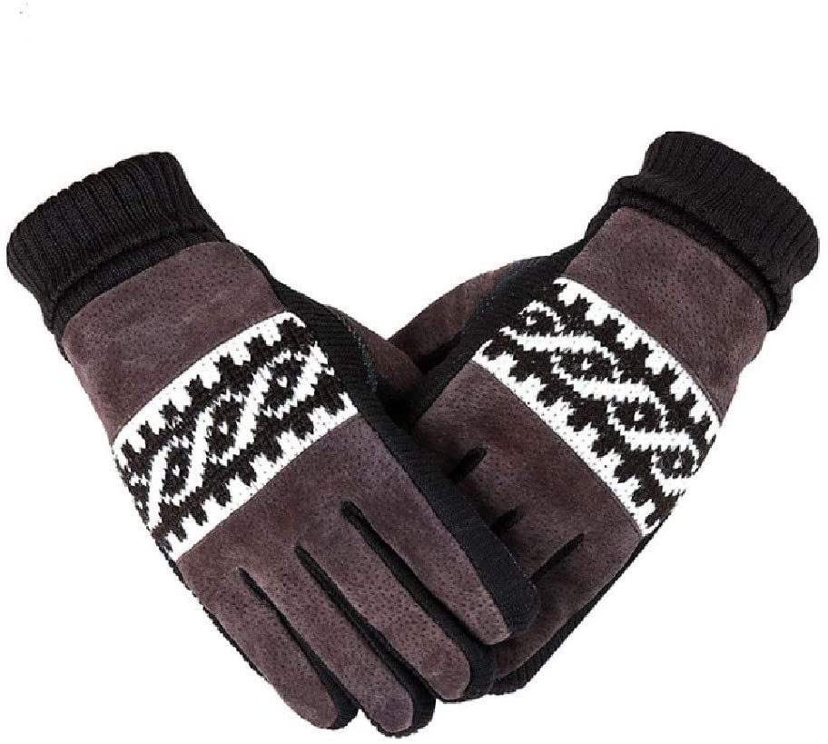 Liaiqing Gloves Winter Plus Velvet Thick Gloves Real Pigskin Warm Gloves Men and Women Fashion Wild Gloves Non-Slip Windproof Gloves Cycling Gloves