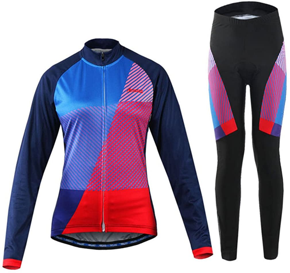 BOSOZOKU Womens Cycling Jerseys Set Compression Long Sleeve Bicycle Slim Fit Suits