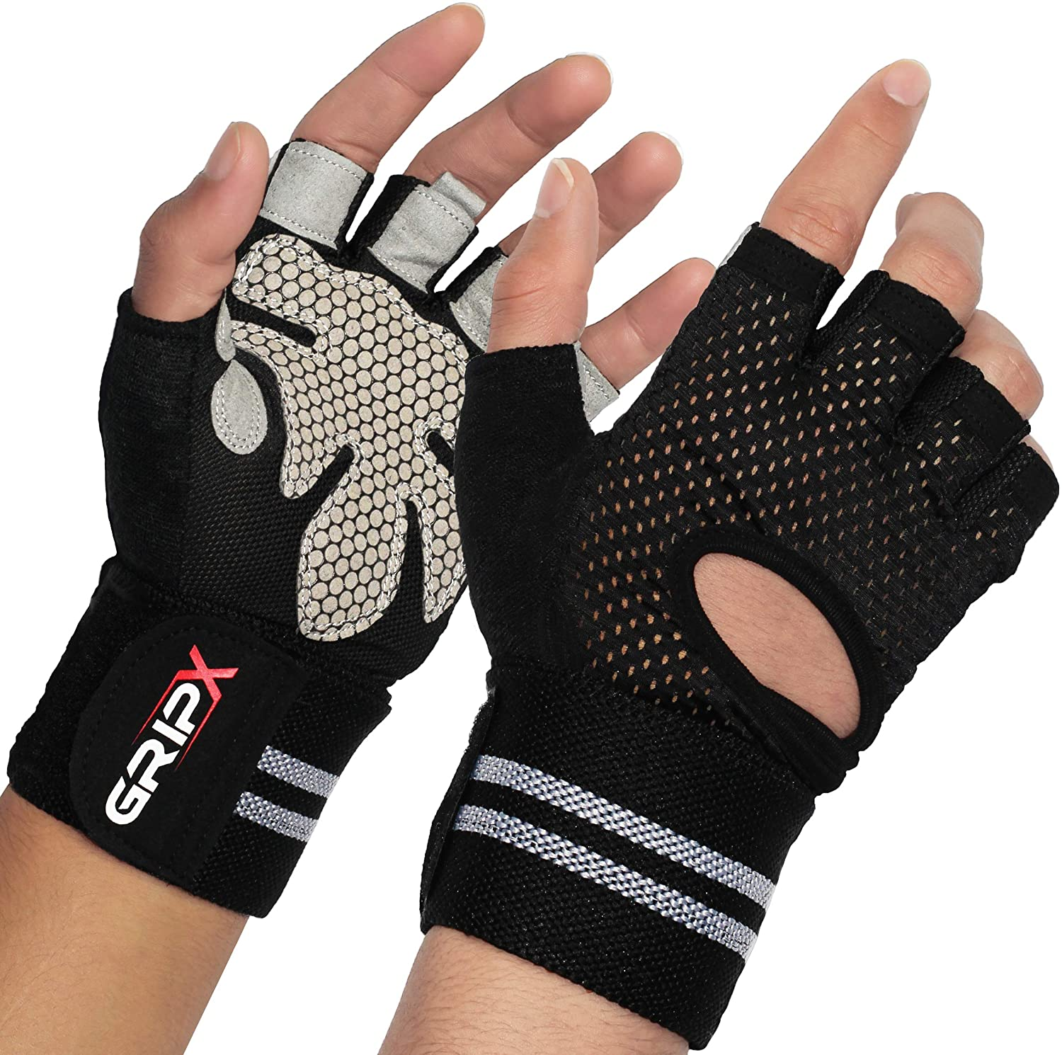 Breathable Weight Lifting Gloves with Wrist Wrap Support. Full Hand Protection & Extra Non-Slip Grip. Light & Durable for Intense Weightlifting & Fitness Workout. for Men & Women. by - GripX