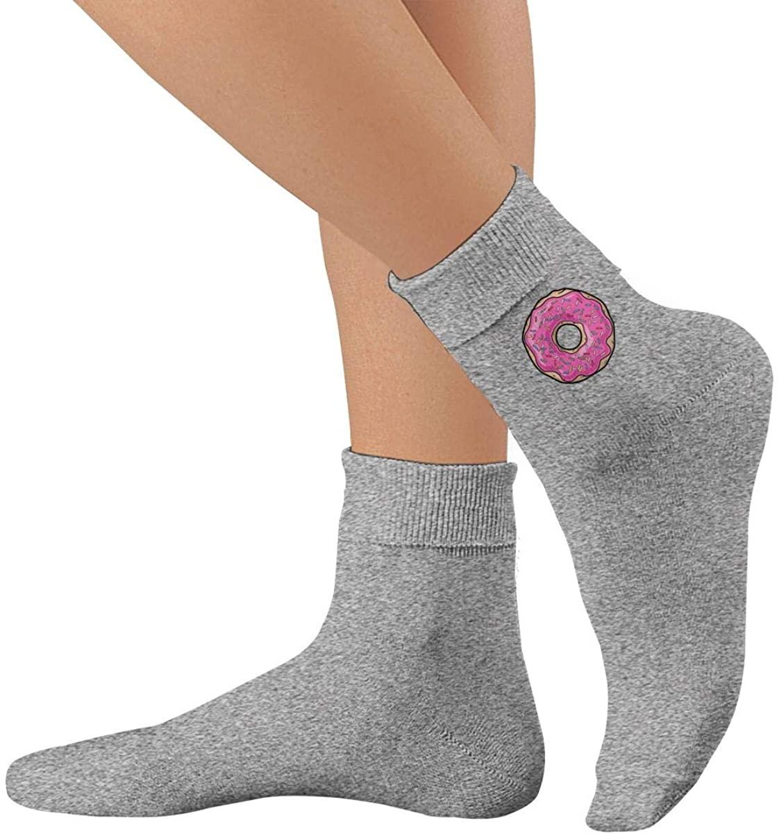 Pink Doughnut Unisex Thin Cotton Lightly High Ankle Socks