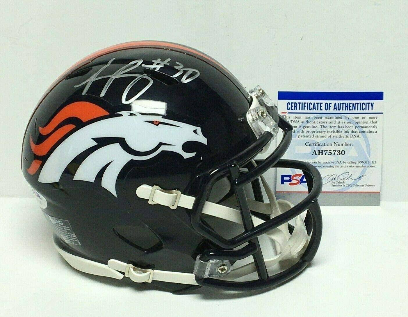 Phillip Lindsay Autographed Mini Helmet - Speed AH75730 - PSA/DNA Certified - Autographed NFL Mini Helmets