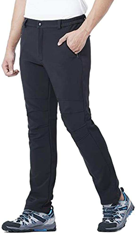 DR. MAのGOTEK Hiking Pants Mens, Soft Shell Pants Fleece Lined Ski Snow Insulated Trousers with Zipper Pockets