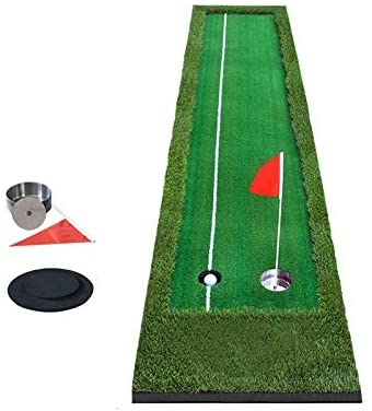 YINZHI Golf Accessories, PGM Golf Double Colors Putting Mat Push Rod Trainer, Size: 50x300cm(Green) (Color : Green)