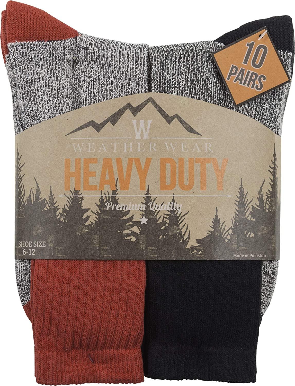 Weatherwear Boot Socks Vintage Sock Black/Red Assorted 10 Pairs