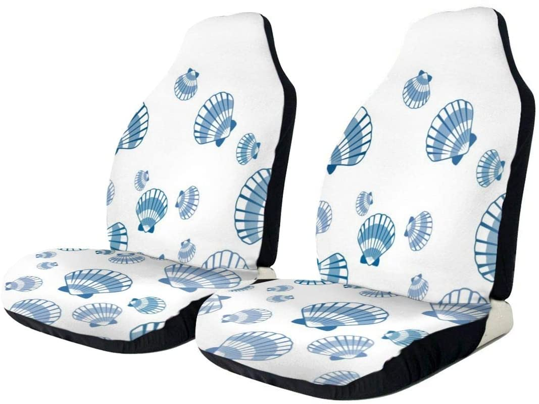EJudge SLHFPX Car Seat Cover Chic Shabby Seashell Pattern SUV Truck Seat Covers Front Bucket Auto Car Seat Protector Covers for Women Men Kids,Universal Fit Most Car,Van,Sedans,Vehicle
