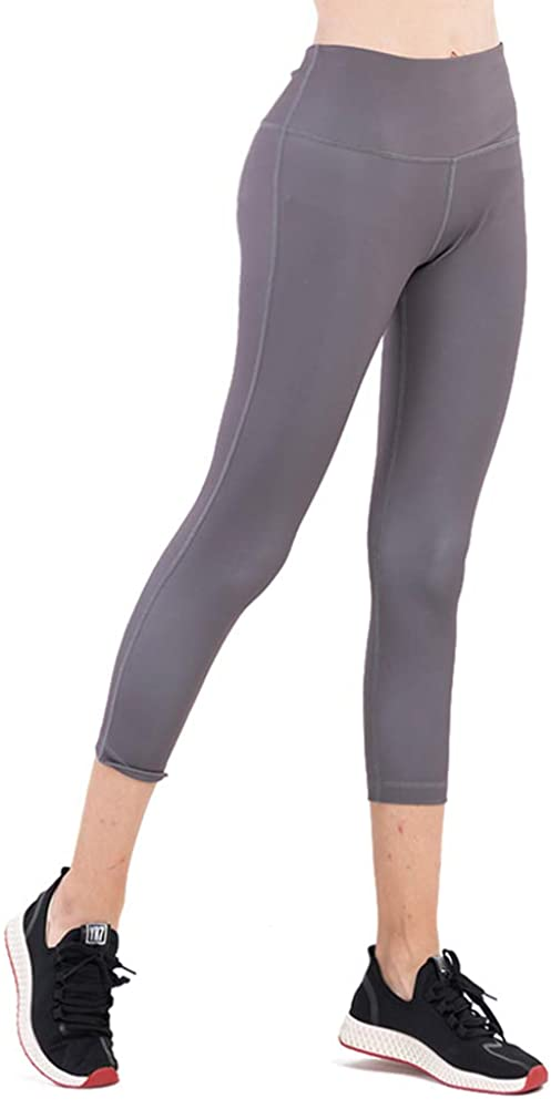 Due East Apparel Wome's High Waist Yoga Pants Tummy Control Yoga Capris Leggings Athletic Workout Pants with Pocket