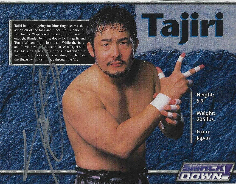 Yoshihiro Tajiri Signed 7x9 WWE Event Program Page ECW New Japan Pro Wrestling - Autographed Wrestling Miscellaneous Items