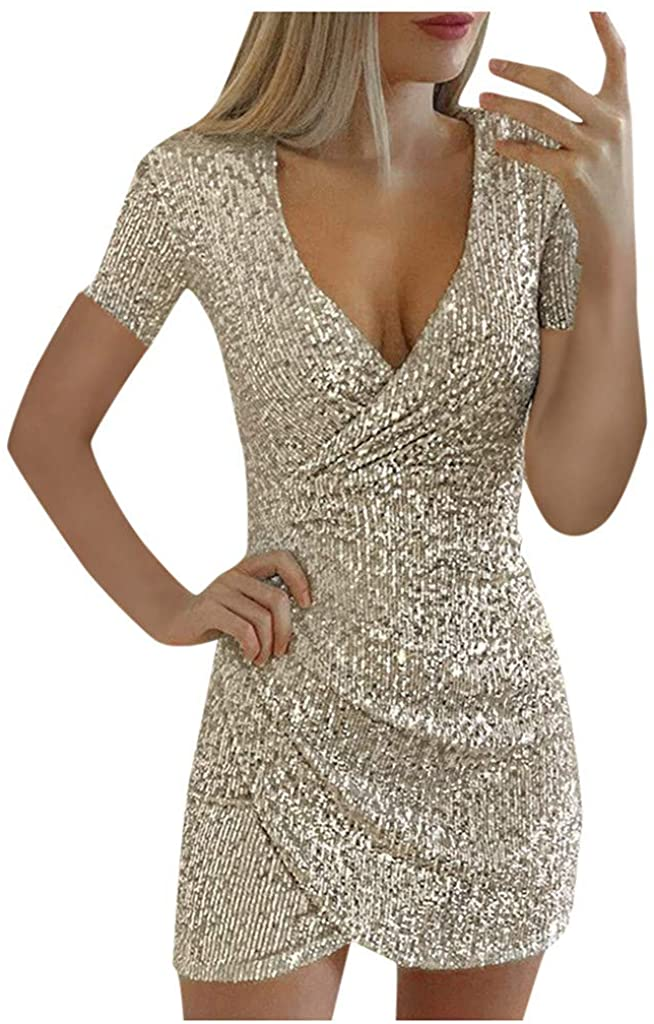 nightfall Glitter Party Dress Women Shiny Sequins Sexy Mini Evening Dress v Neck Long Sleeve Cocktail Dress Mini Dress Silver