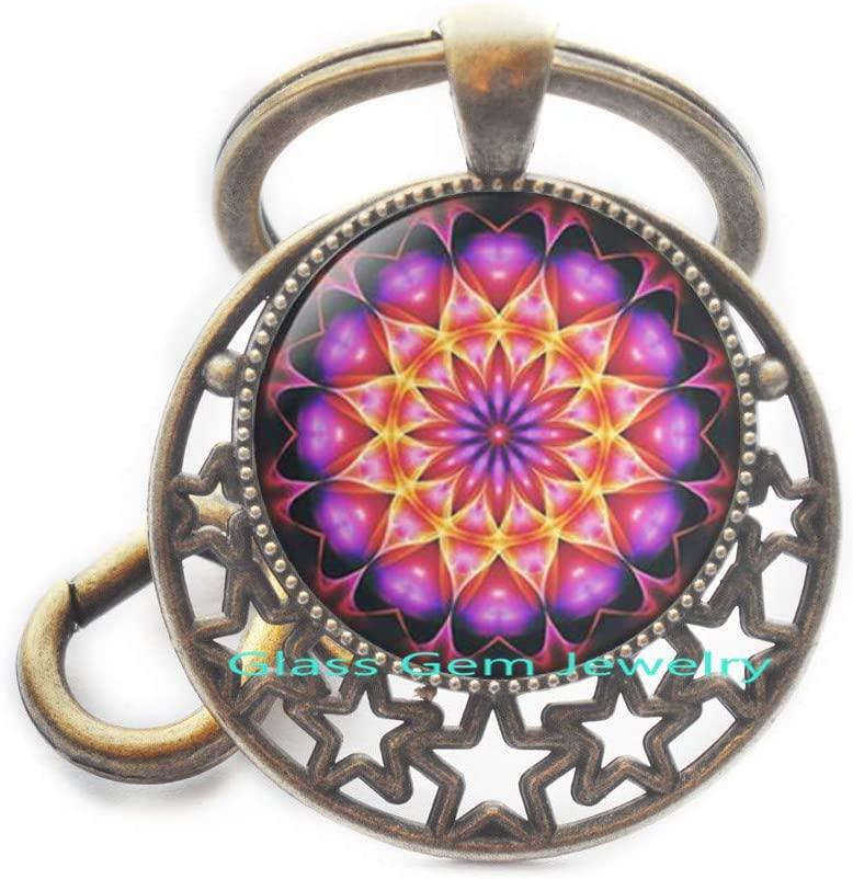 Sacred Geometry Keychain,Heart Jewelry,Mandala Key Ring,Spiritual Amulet,Religious,Q0171