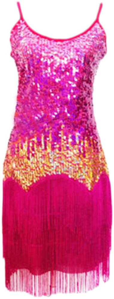 George Jimmy Latin Rumba Cha,cha Tassel Dance Clothing Beautiful Sequins Dance Skirt,Rose Red