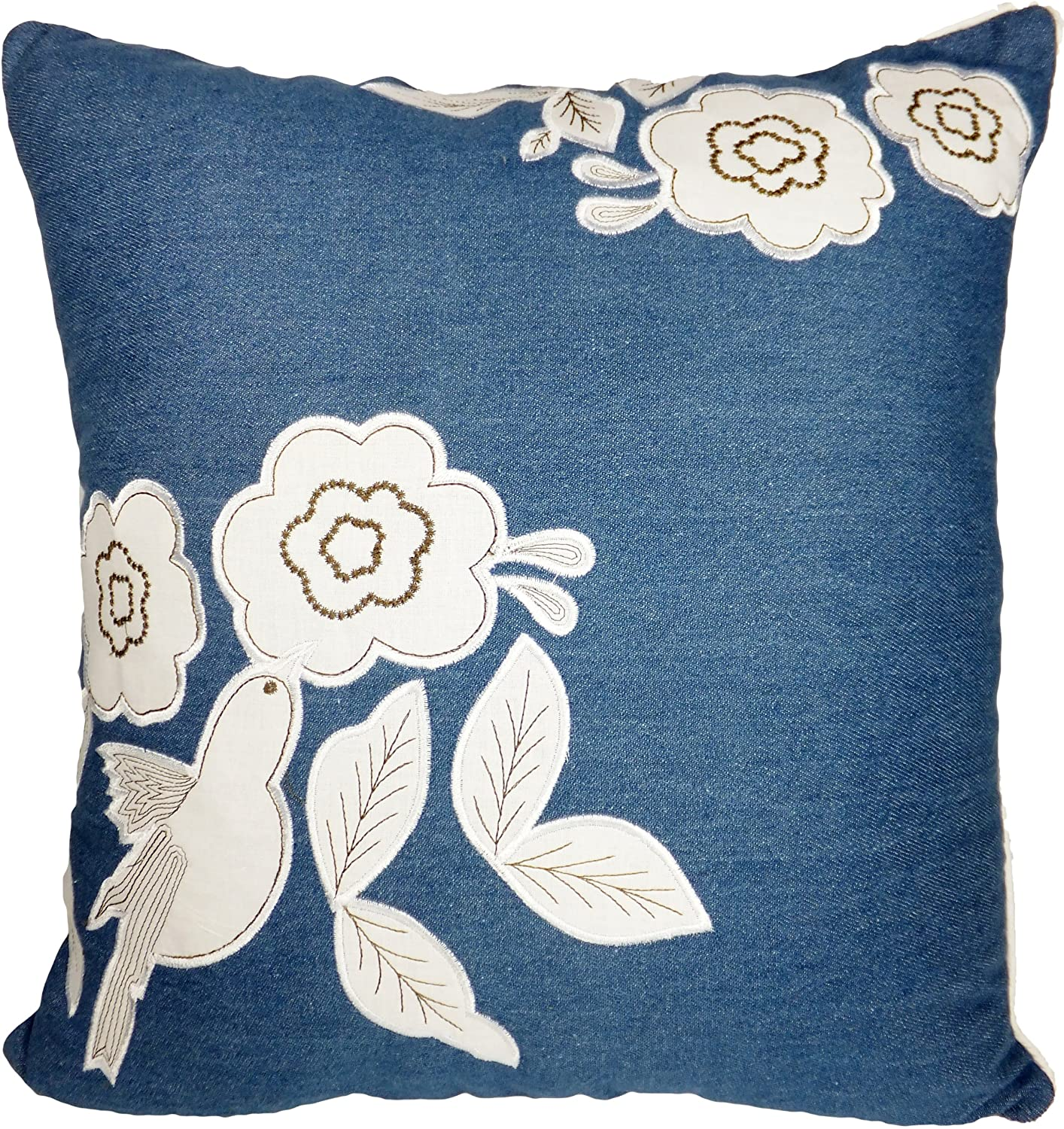 Decorative Floral Applique Blue Throw Pillow Cover 18