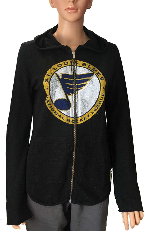 Retro St. Louis Blues Brand Women Black Quad Blend Full Zip Hoodie Jacket (XS)