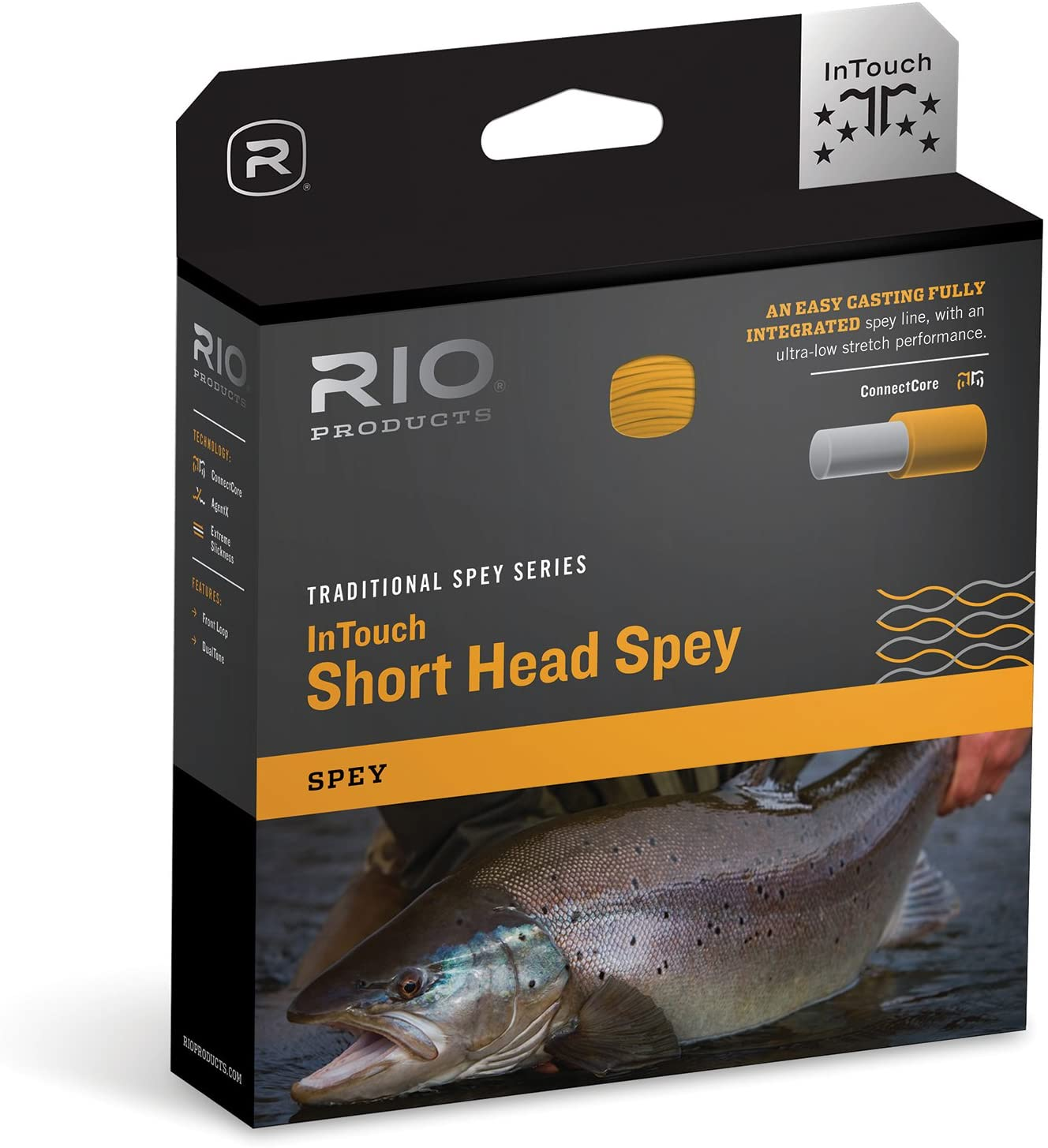 RIO Products Fly Line Intouch Shorthead Spey 7/8, Blue-Orange-Straw