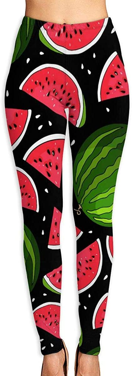 AUISS Yoga Pants for Women Womens Leggings Watermelon Summer Fruit Running Workout Power Stretch Long Trousers Athletic Gym