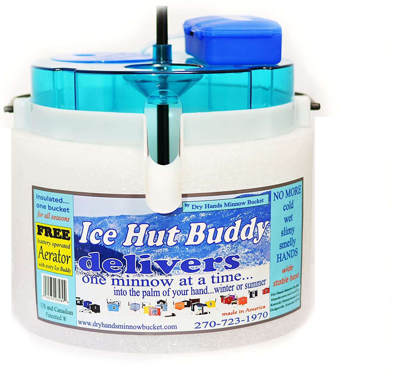 Dry Hands Dispensing Ice Hut Buddy Includes D-Battery Operated Bubble Stone Aerator (White)
